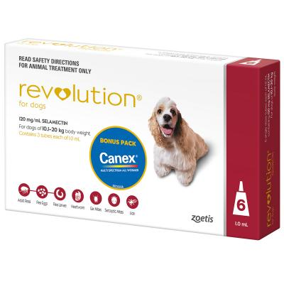 Revolution For Dogs 10.1-20kg Red 6 Pack With Canex Tablets
