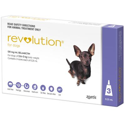 Revolution For Dogs 2.6-5kg Purple 3 Pack