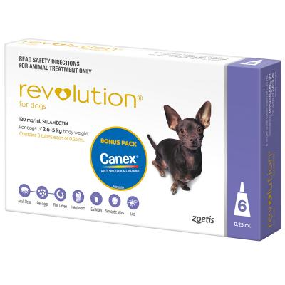 Revolution For Dogs 2.6-5kg Purple 6 Pack With Canex Tablets