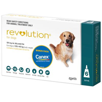 Revolution For Dogs 20.1-40kg Teal 6 Pack With Canex Tablets