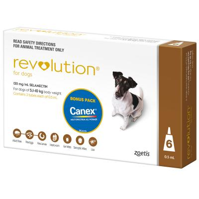 Revolution For Dogs 5.1-10kg Brown 6 Pack With Canex Tablets