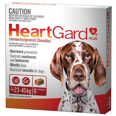 Heartgard Plus For Large Dogs 23-45kg Brown 6 Chewables