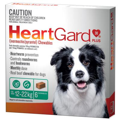 Heartgard Plus For Medium Dogs 12-22kg Green 6 Chewables
