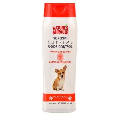 Natures Miracle Skin & Coat Supreme Odour Control Natural Shed Control Plum Hibiscus Scent Shampoo And Conditioner 473ml