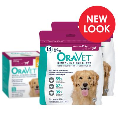 OraVet Dental Chews Large Dogs Over 23kg 28 Days Treatment (2 x 14)