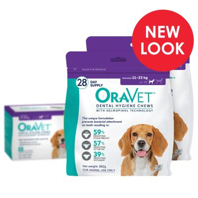 OraVet Dental Chews Medium Dogs 11-23kg 56 Days Treatment (2 x 28)