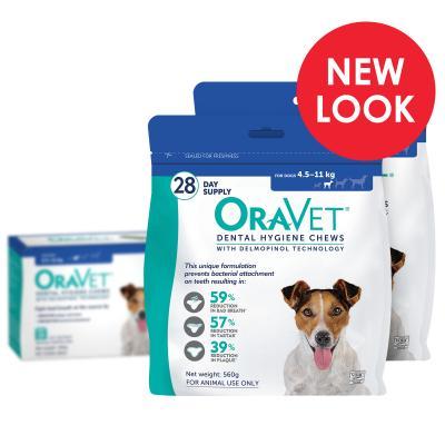 OraVet Dental Chews Small Dogs 4.5-11kg 56 Days Treatment (2 x 28)