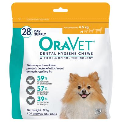 Oravet Dental Chews Extra Small Dogs Up To 4.5kg 28 Days Treatment