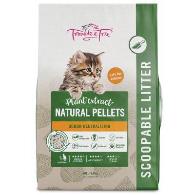 Trouble & Trix Plant Extract Natural Pellet Clumping Cat Litter 10lt 4.8kg