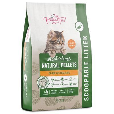 Trouble & Trix Plant Extract Natural Pellet Clumping Cat Litter 10L/4.8kg