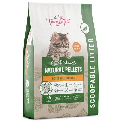 Trouble & Trix Plant Extract Natural Pellet Clumping Cat Litter 10L/4.8kg