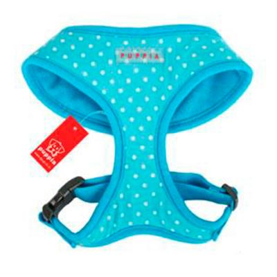 Puppia Dotty Harness Sky Blue Medium 28-32cm Neck x 41-61cm For Dogs
