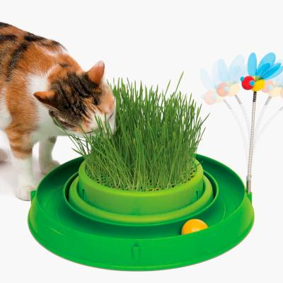 Catit Play 3 in 1 Circuit Ball Toy With Cat Grass Planter And Bouncy Bee Toy For Cats