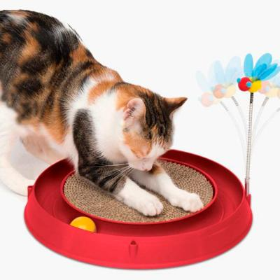 Catit Play 3 in 1 Circuit Ball Toy With Scratch Pad And Bouncy Bee Toy For Cats