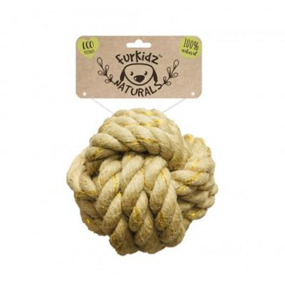 Furkidz Natures Choice Jute Ball Natural Rope Toy For Dogs 15cm