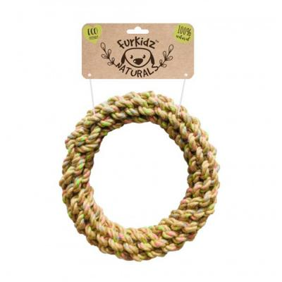 Furkidz Natures Choice Jute Ring Natural Rope Toy For Dogs 22cm