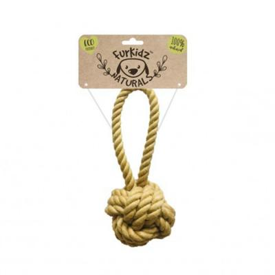 Furkidz Natures Choice Jute Sling Ball Natural Rope Toy For Dogs 16cm