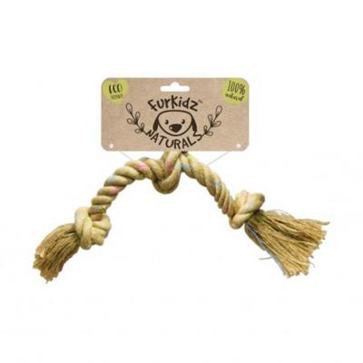 Furkidz Natures Choice Jute Triple Knott Natural Rope Toy For Dogs 46cm