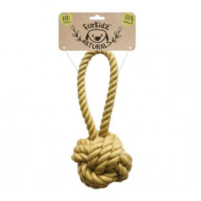Furkidz Natures Choice Jute Sling Ball Natural Rope Toy For Dogs 46cm