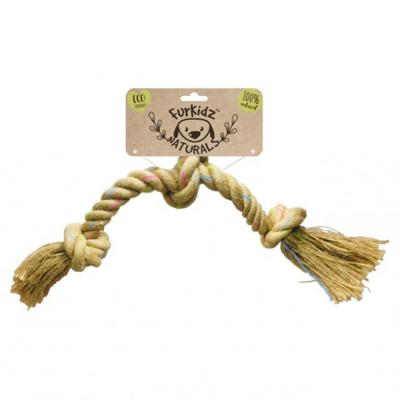 Furkidz Natures Choice Jute Triple Knott Natural Rope Toy For Dogs 58cm