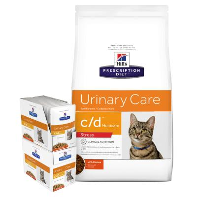 Hills Prescription Diet Bundle Feline c/d Urinary Care Multicare Dry and Chicken Wet Cat Food
