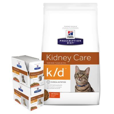 Hills Prescription Diet Bundle Feline k/d Kidney Care With Chicken Dry And Wet Cat Food