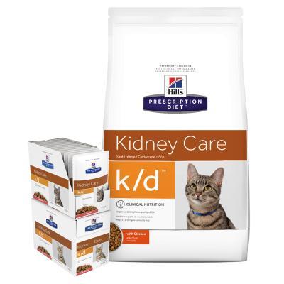 Hills Prescription Diet Bundle Feline k/d Kidney Care With Salmon Dry And Wet Cat Food