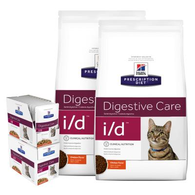 Hills Prescription Diet Bundle Feline i/d Dry And Chicken Wet Cat Food