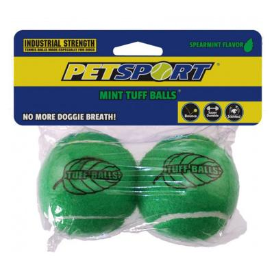 Tuff Mint Tennis Ball Nonabrasive Felt Toy For Dogs 6cm 2Pack