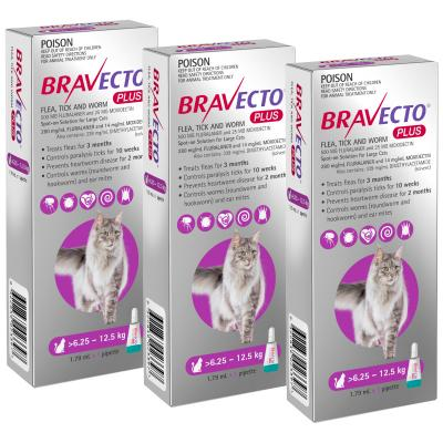 Bravecto Plus Spot On For Large Cats 6.25 - 12.5kg 3 Pack