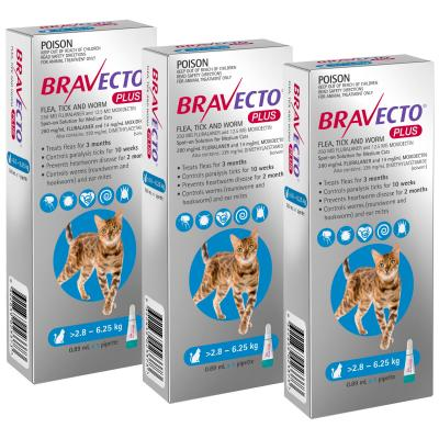 Bravecto Plus Spot On For Medium Cats 2.8 - 6.25kg 3 Pack
