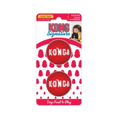 KONG Signature Ball Durable Super Bounce Squeak Small Toy For Dogs 2 Pack