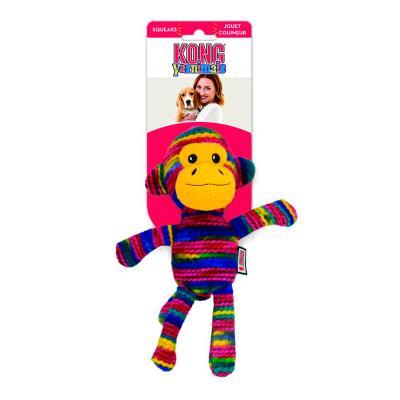 KONG Yarnimals Monkey Plush Squeak Medium Large Toy For Dogs