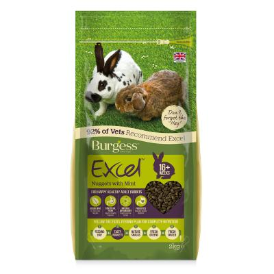Burgess Excel Nuggets With Mint Pellet Food For Adult Rabbits 2kg