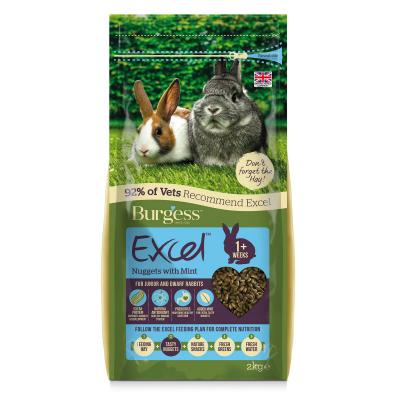 Burgess Excel Nuggets With Mint Pellet Food For Junior And Dwarf Rabbits 2kg