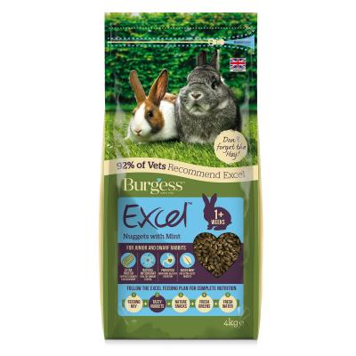Burgess Excel Nuggets With Mint Pellet Food For Junior And Dwarf Rabbits 4kg