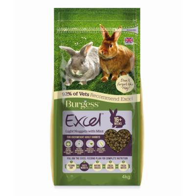 Burgess Excel Light Nuggets With Mint Pellet Food For Overweight Adult Rabbits 4kg