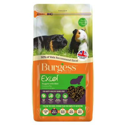 Burgess Excel Nuggets With Mint Pellet Food For All Age Guinea Pigs 2kg
