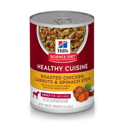 Hills Science Diet Healthy Cuisine Roasted Chicken Carrot Spinach Stew Adult Canned Wet Dog Food 354gm x 12 (10450)