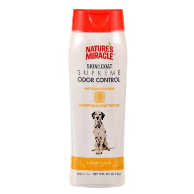 Natures Miracle Skin and Coat Supreme Odour Control Natural Oatmeal Honey Sage Shampoo and Conditioner For Dogs 473ml