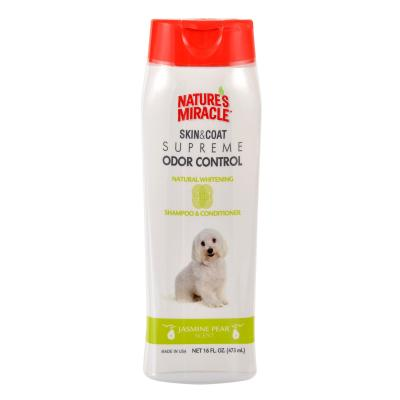 Natures Miracle Skin and Coat Supreme Odour Control Natural Whitening Jasmine Pear Dog Shampoo and Conditioner For Dogs 473ml
