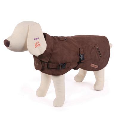 Kazoo Dual Collar Dog Coat With Harness Hatch Cocoa XSmall 33.5cm