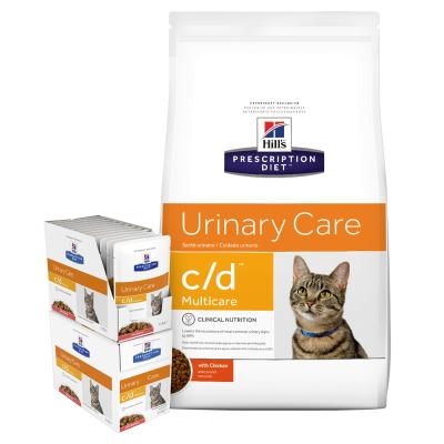 Hills Prescription Diet Bundle Feline c/d Urinary Care Multicare Chicken Dry And Salmon Wet Cat Food
