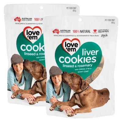 Love em Cookies Linseed And Rosemary Treats For Dogs 450g x 2 Pack