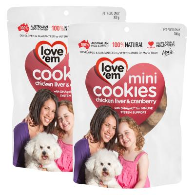 Love em Cookies Mini Chicken Liver And Cranberry Treats For Dogs 300g x 2 Pack