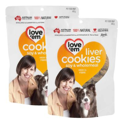 Love em Cookies Soy And Wholemeal Treats For Dogs 450g x 2 Pack