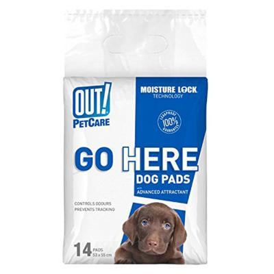 Out! Petcare Go Here Toilet Training Pads For Dogs 53x55cm 14 Pack