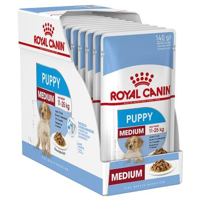 Royal Canin Medium Puppy In Gravy Pouches Wet Dog Food 10 x 140g