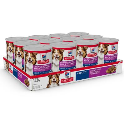 Hills Science Diet Savoury Stew With Beef And Vegetables 7+ Mature/Senior Canned Wet Dog Food 363gm x 12  (1434)