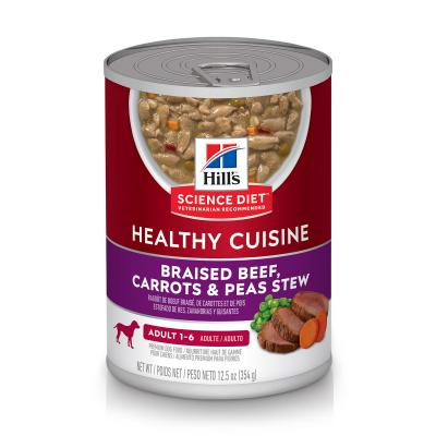 Hills Science Diet Healthy Cuisine Braised Beef Carrot Pea Stew Adult Canned Wet Dog Food 354gm x 12 (10451)